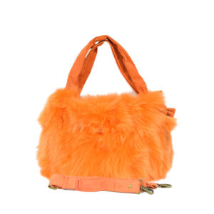 Orange Fox Fur Handbag