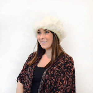 Knit Hat with Rabbit Fur