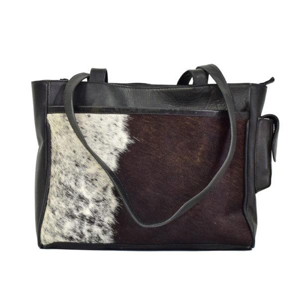 Leather Handbag w/ Cowhide