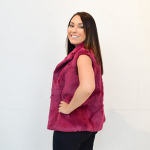 Rabbit Fur Vest (Burgundy)