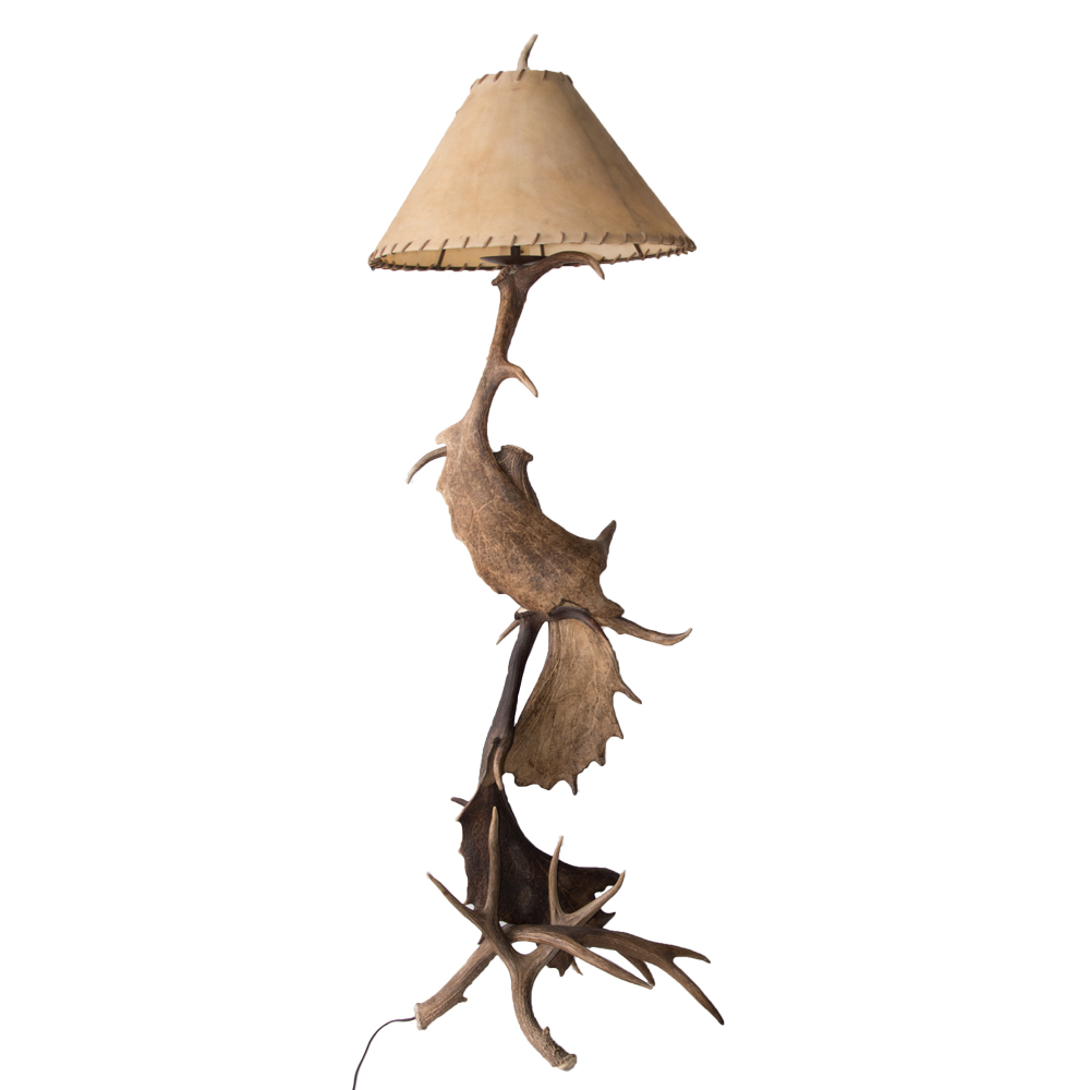 Floor lamp moose deer antler art by god mineral and nature moose deer antler floor lamp aloadofball Image collections