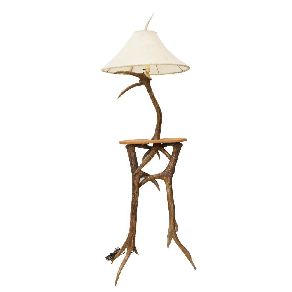 huge discount dd9c7 d2883 Floor Lamp with Table - Elk Deer Antler
